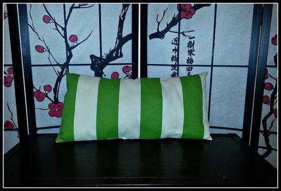 Green Stripe Lumbar Pillow by SweetGifties on Etsy, $15.00