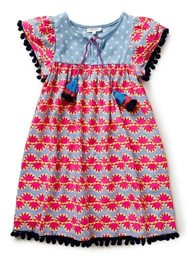 100% Cotton Dress. Features all-over sunray viscose yardage and ...