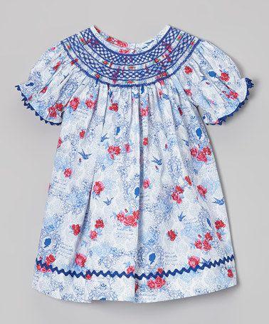 Love this Blue & Red Floral Bishop Dress - Infant & Toddler on #zulily! #zulilyfinds