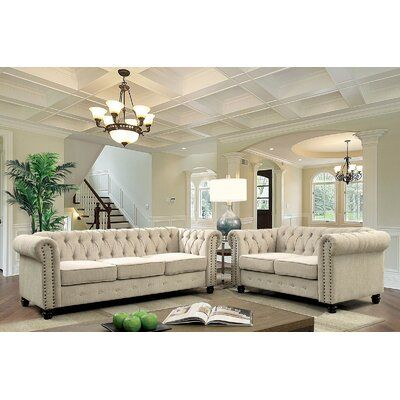 Canora Grey Meliton Chesterfield Nailhead 2 Piece Linen Beige Living Room Sectional Set Uph Living Room Sets 3 Piece Living Room Set 4 Piece Living Room Set