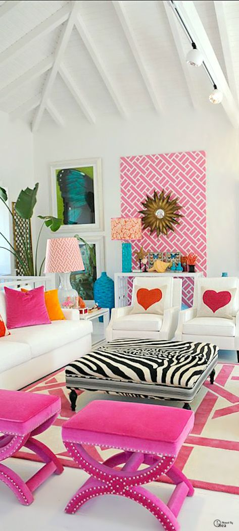 Living Room Feature Wall Decor: Bachelorette Luxe Pad~ Bright & Bold Living Room