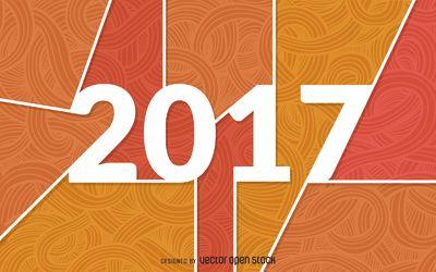 2017 cartel con adornos de color naranja