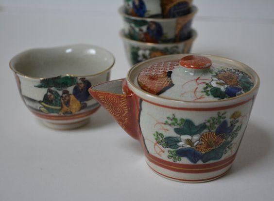 Vintage Japanese tea set, hand painted Kutani porcelain kyusu set, stamped from Styled in Japan  www.styledinjapan.com