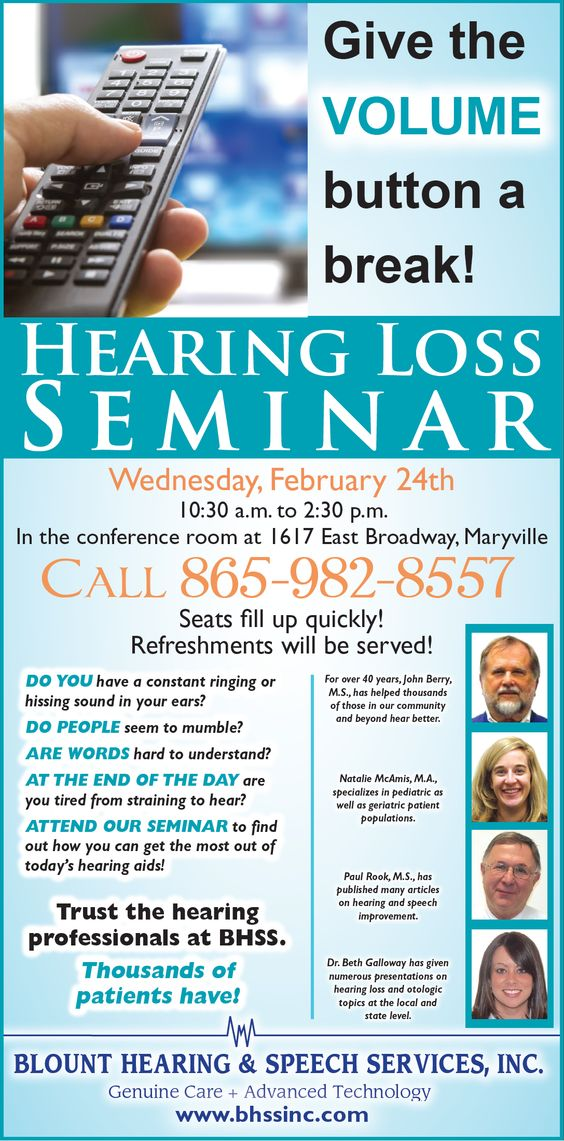 Join us tomorrow, Wednesday, Feb. 24th, 2016 for the Hearing Loss Seminar. Come out learn about how today's hearing aids can help you.