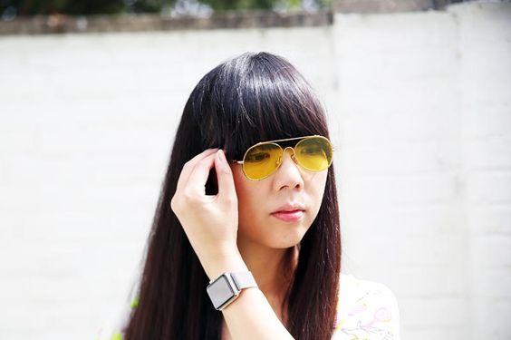 Susie Bubble wearing Supersweet x Moumi tunic, Acne sunglasses, Coach woven duffle bag #susielau #stylebubble