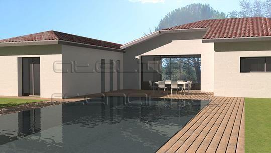 Maison contemporaine de plain pied de 130 m2 avec mezzanine ...