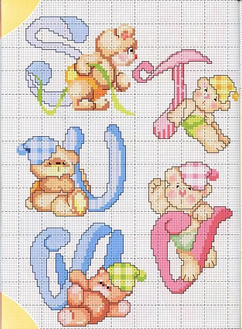 alfabeto teneri orsetti 3 punto croce