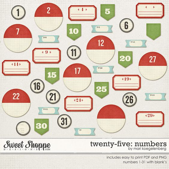 Sweet Shoppe Designs :: Printables :: Ready To Print Crafts :: Twenty Five Days of Joy The Numbers by Mari Koegelenberg