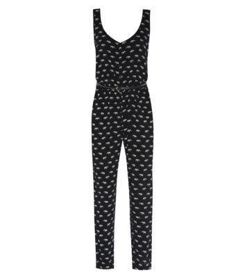 Petite Black Woven Elephant Print Belted Jumpsuit