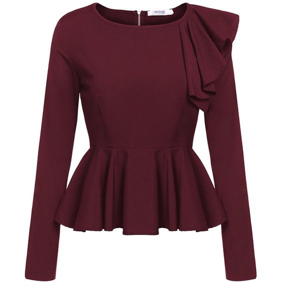 Meaneor Women's Ruffles Peplum Long Sleeve Dressy Blouse Tops ($16 ...