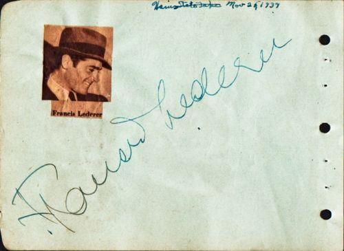 Vintage-RED-SKELTON-FRANCIS-LEDERER-Autograph-1939