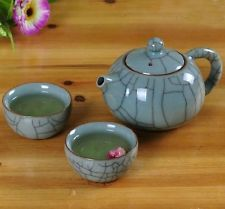 China Longquan Celadon Kung Fu Tea Set GeYao Kaipian A Teapot Two Cups