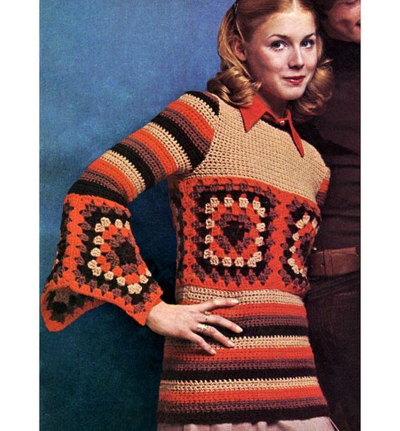 Vintage Crochet Pattern Granny Squares Bell Sleeve Top 1970s Boho Pullover Digital Download PDF: