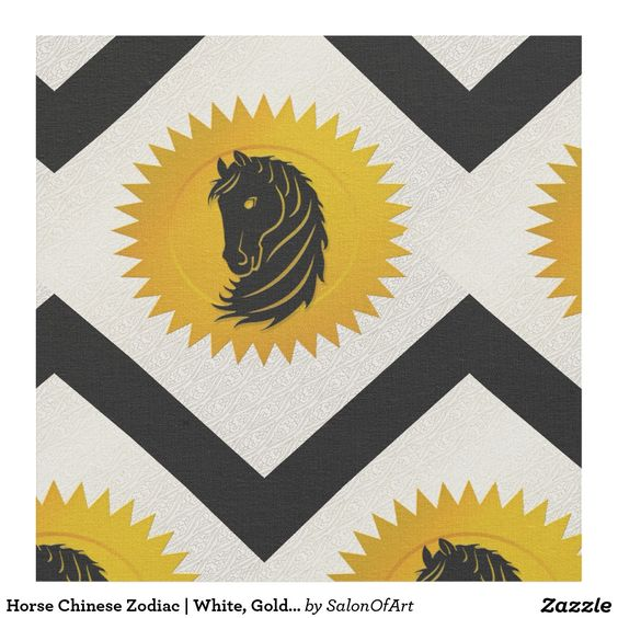 Horse Chinese Zodiac | White, Gold and Black Fabric
