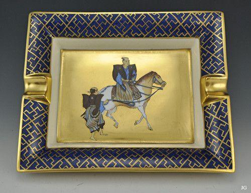 Hermes - Paris Porcelain Ash Tray Gilded/Gold Authentic Beautiful!