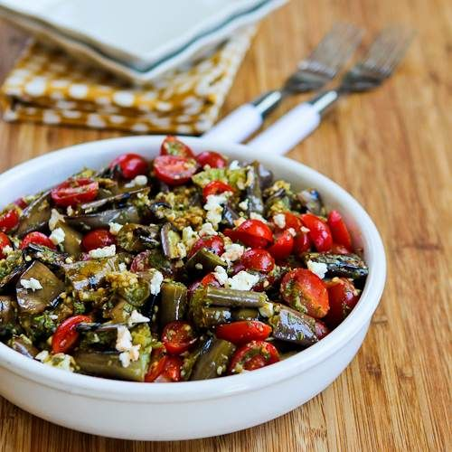 Grilled Eggplant and Grape Tomato and Feta Salad with Amazing Basil, Parsley, and Caper Sauce from @Kalyn's Kitchen