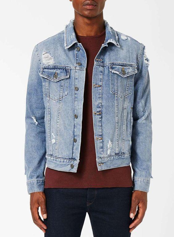 Blue Distressed Denim Jacket - Men's Coats & Jackets - Clothing - TOPMAN