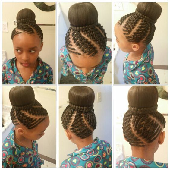 Kids hairstyle #bun #braids #creative done by me Tracy ...