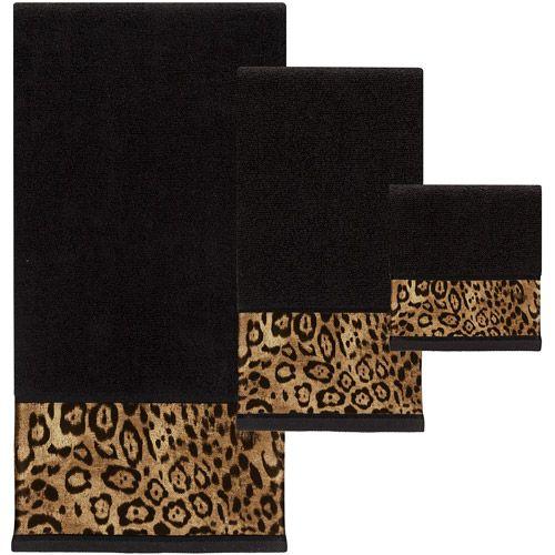 Leopard Print Bath Towel Sets Animal Print Bathroom Creative