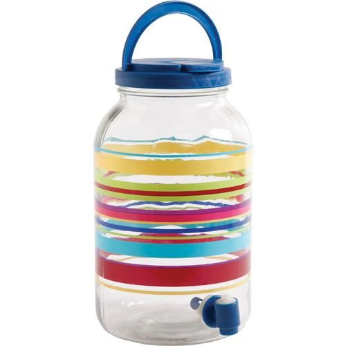 Gibson - 3 Liter Glass Sun Tea Jar With Spigot - Stripes