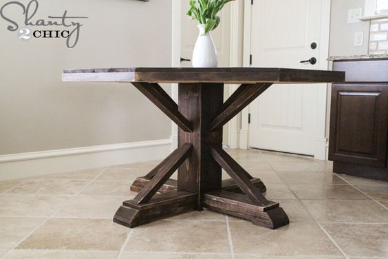 Diy round wooden table for 110 stains pedestal and pottery for Diy barn table