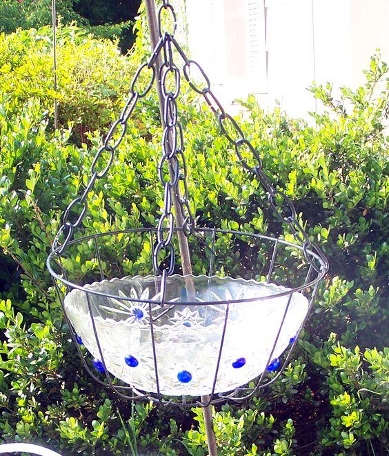Hanging Bird Bath Bird Baths And Glass Bowls On Pinterest