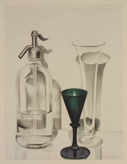 Auspicious Vision, American Modernism:  Charles Sheeler (1883-1965) Siphon, 1923 Charcoal and watercolor on white paper 16 7/16 x 12 1/2 in. Edward W. Root Bequest.
