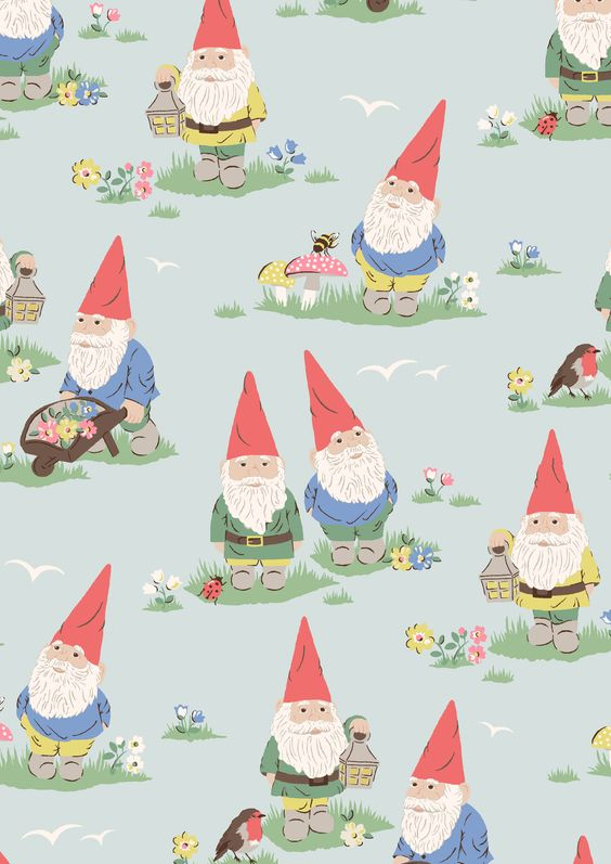 Garden Gnomes | Gnomes are a quirky feature of British gardens and add humour and character to ours this season. This fun novelty print features Cath hallmarks like mushrooms and mini flowers alongside our cheeky little gnomes | Cath Kidston SS16 |