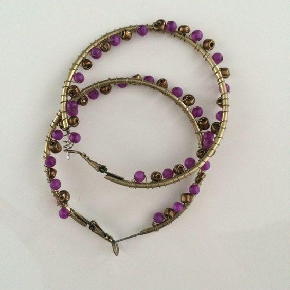 "Beaded hoop earrings - bronze and purple Beaded hoop earrings from Target. Worn once! 2.25"". Xhilaration Jewelry Earrings"