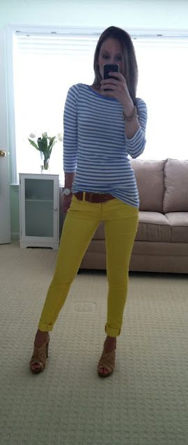 bright skinnies and neutral accessories
