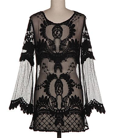 Love this Black Sheer Crochet Bell-Sleeve Tunic on #zulily! #zulilyfinds