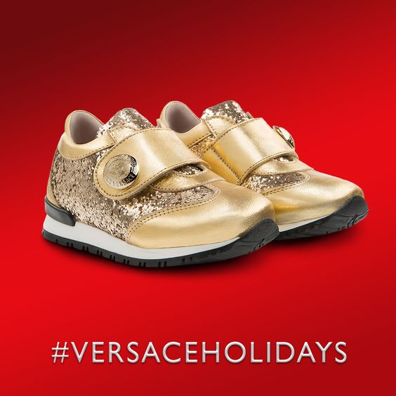 Give her a princess treatment with this playful glitter covered #Versace sneakers. Discover more on versace.com #VERSACEHOLIDAYS