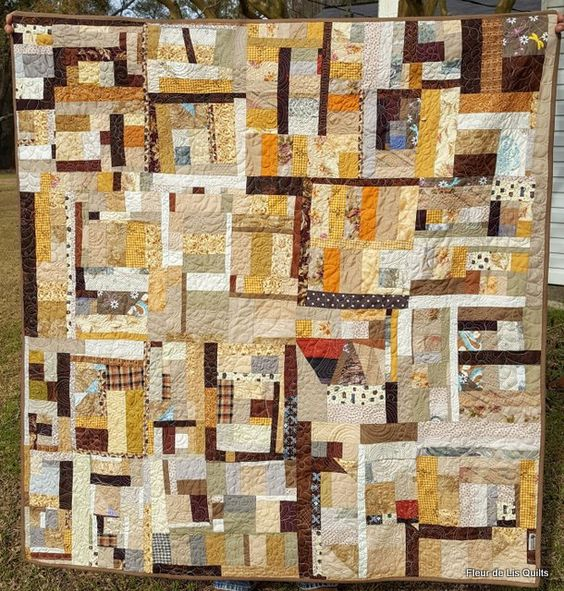 """Murky Waters"" Mary Marcotte 2016 A scrap quilt in beige, tans, browns like the water in the bayous near my Louisiana home. www.fleurdelisquilts.blogspot.com"