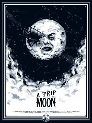 A Trip To The Moon - Poster - Canvas Print - Wooden Hanging Scroll Frame