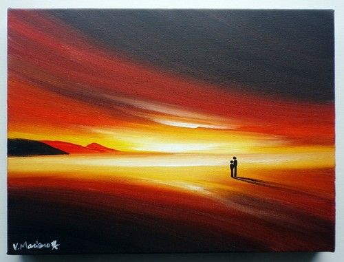 "VAN MARCIANO ""SKIES OF FIRE"" HAND-PAINTED CANVAS ART - REDS, ORANGES"
