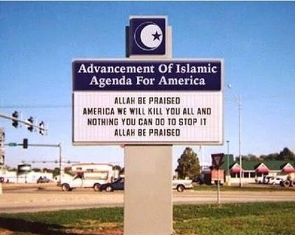 "Fake Sign:""Allah Be Praised America We Will Kill You All and Nothing You Can Do To StopIt"": The road sign below, which has the message: ""Allah be praised America we will kill you all and nothing you can do to stop it Allah be praised,"" is a fake. The fake sign, which the poster claims is located near Dearborn, Michigan, was created on a website called ""Church Sign Maker"" that allows users to make their own signs, by selecting an image and adding text to it. Below, we ..."