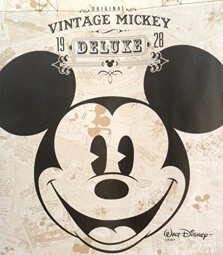 """Disney Vintage Mickey Mouse Tote Bag -Large Woven Reusable Tote (14""""x16""""x7"""")"""