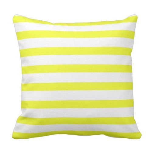 Bright Yellow White Stripes Throw Pillow Zazzle Com Stripe