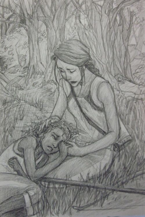 Here your dreams are sweet and tomorrow brings them true,  Here is the place where I love you.   -page 235, The Hunger Games. This is such sad, sad art, but it's beautiful