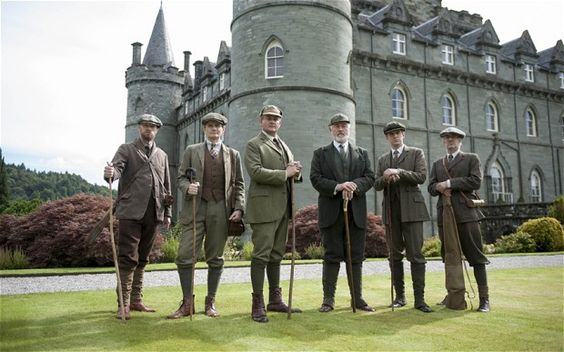 The shooting party: the Crawleys visit their relative Shrimpy (Peter Egan, third from right) in Scotland