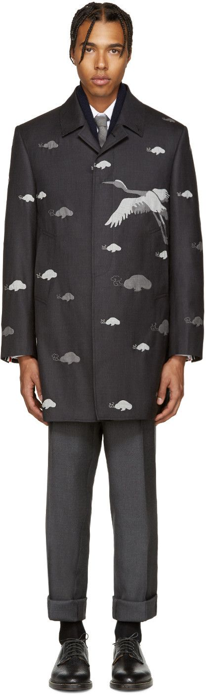 9,235€ Thom Browne - Manteau en laine gris Crane