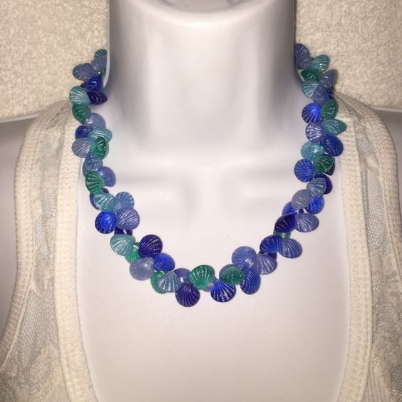 """Genuine Lucite Blue & Aqua Seashell Bead Necklace 🐚🐌🏖 Genuine Lucite beaded seashell necklace. Gorgeous Tones of Blues & Aqua bring this piece together. Has a Lobster claw clasp. Measures 17"""" long. Beautiful brand new condition. 🐚🐌🏖 Jewelry Necklaces"""