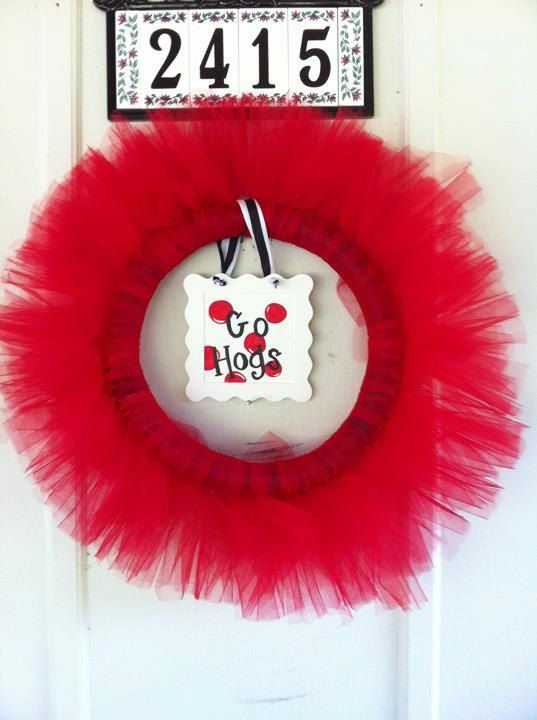 Razorback Tulle Wreath!!! $30.00
