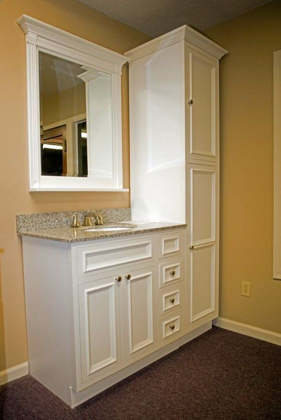 for small bathroom cabinets floor to ceiling at end of sink best