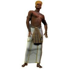 El hilo era el genero mas utilizado para la ropa del antiguo Egipto ya que este podía trabajarse en tejidos finos y ligeros, era mas fácil de lavar y se hacia con fibras vegetales , también utilizaba el carrizo(para prendas de esclavos) y el papiro(prendas cortas y ajustadas, delantales) el color menos usado era el negro, solo iba en la peluca, el blanco era símbolo de la felicidad.