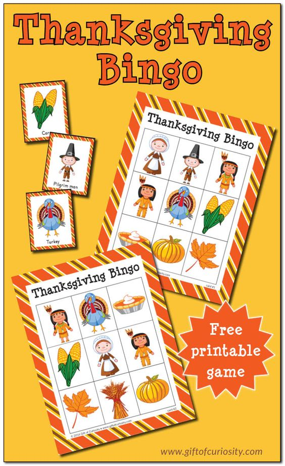 FREE printable Thanksgiving Bingo game || Gift of Curiosity: