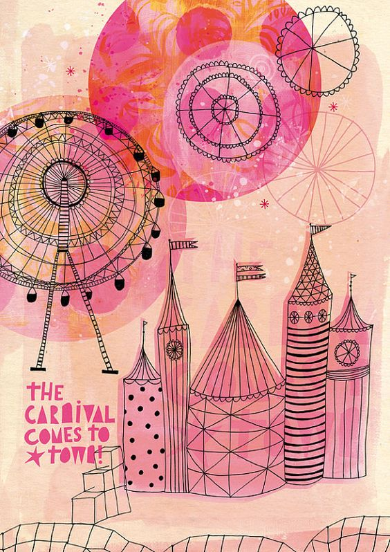 Carnival Comes to Town Art Print A4 8x11 by lovelysweetwilliam, $24.00