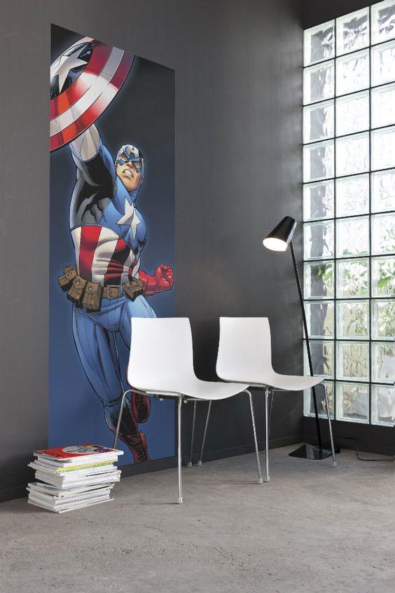 Photo Wall Decal photographie murale papier peint Marvel CAPTAIN AMERICA héros comique, décor à la maison décoration, incroyable amour Stickers muraux Art by ArtDivine4U on Etsy