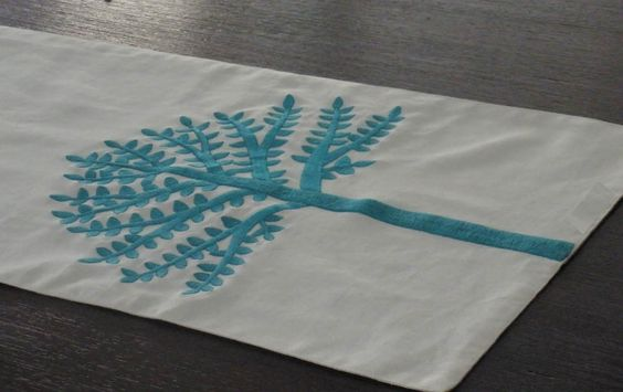 "Turquoise Table Runner, Embroidered Table Runner 14"" x 64"", Turquoise Tree on Oatmeal Linen Table Runner,  Dining Table Runner, Table Linen. $34.00, via Etsy."