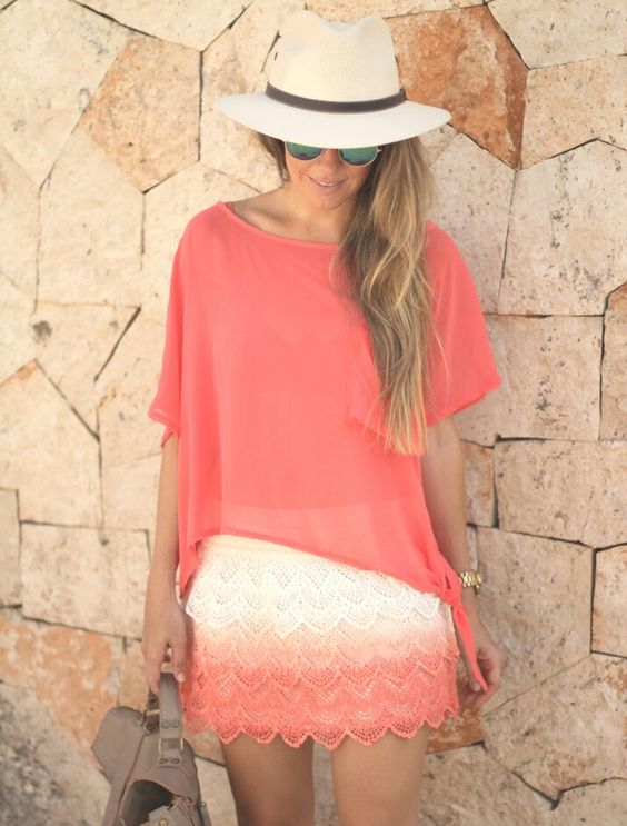 Adorable outfit in coral, perfect for Barbados, Guadeloupe Islands...Caribbean